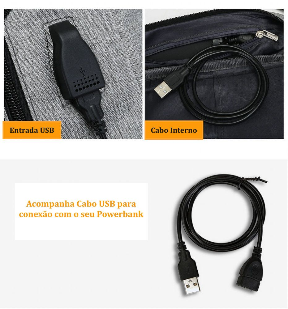 Mochila com entrada USB Masculina