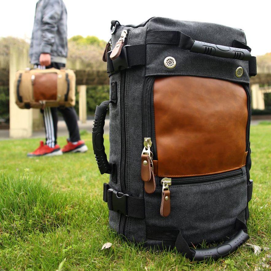 mochila de lona e couro multifuncional