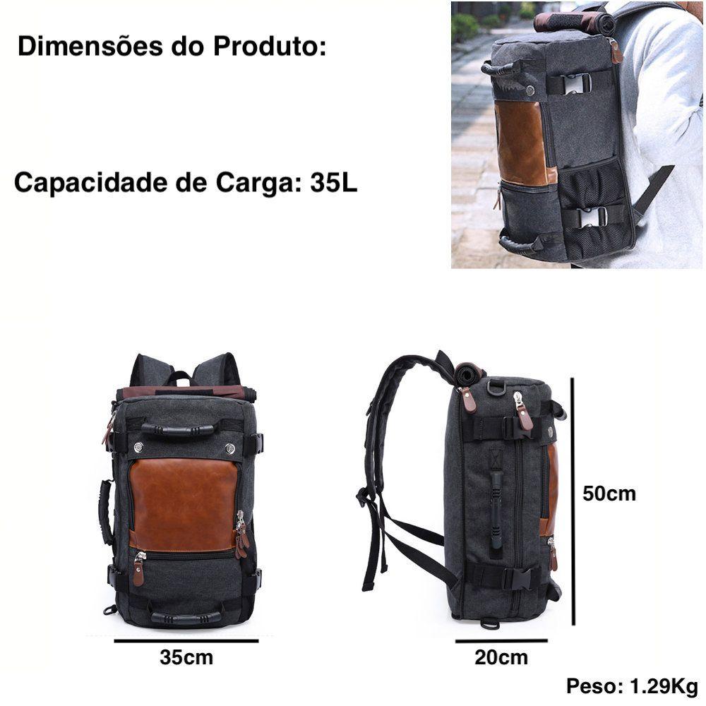 mochila de lona e couro multifuncional impermeavel