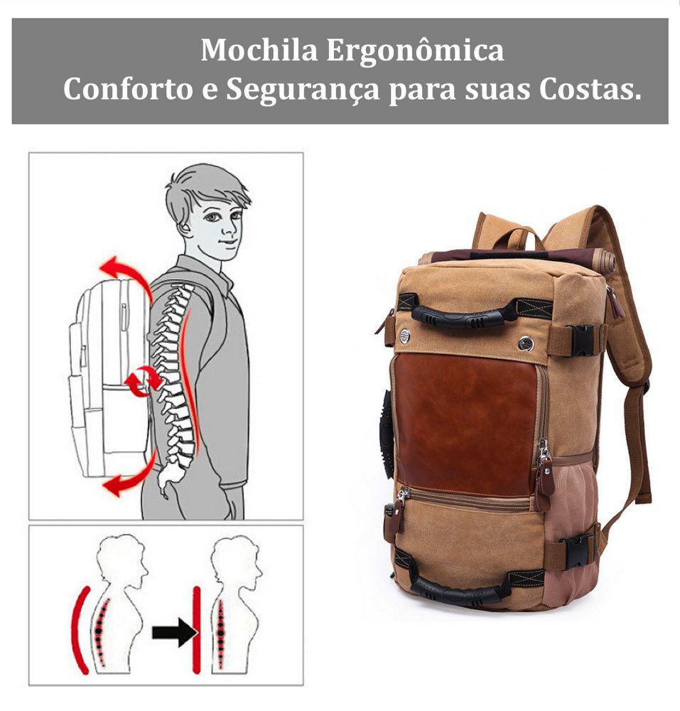 Mochila de Lona e Couro Multifuncional Impermeável Premium