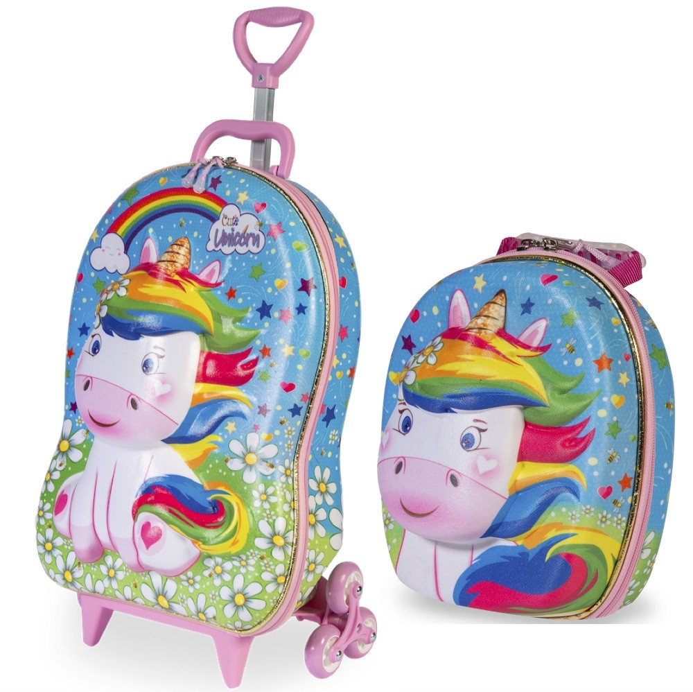 Mochila Escolar Infantil Feminina E Lancheira De Unicornio