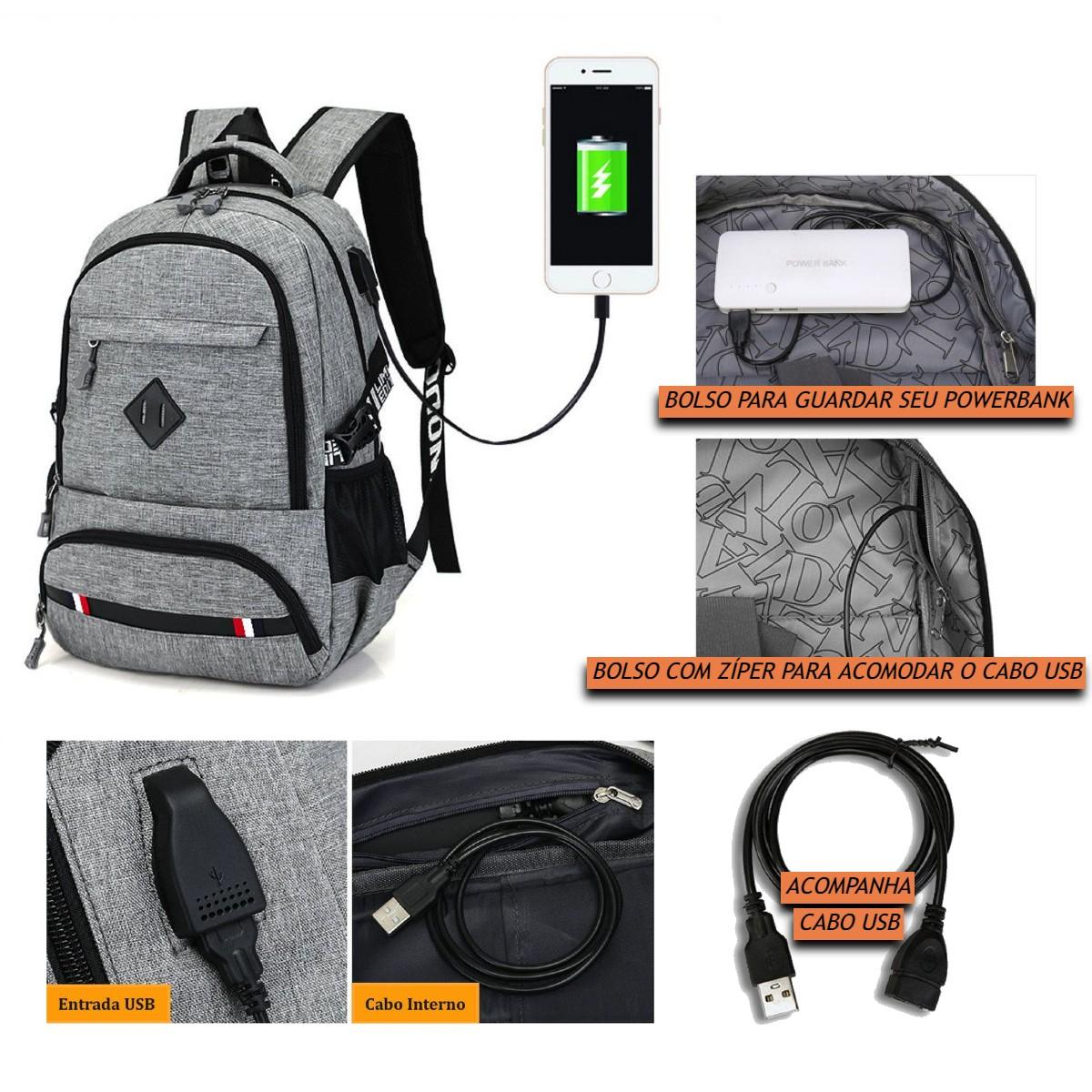 Mochila Escolar Universitária Casual com entrada USB Masculina e Feminina com Bolsos Internos e Compartimento para Notebooks de Até 15.6 Polegadas