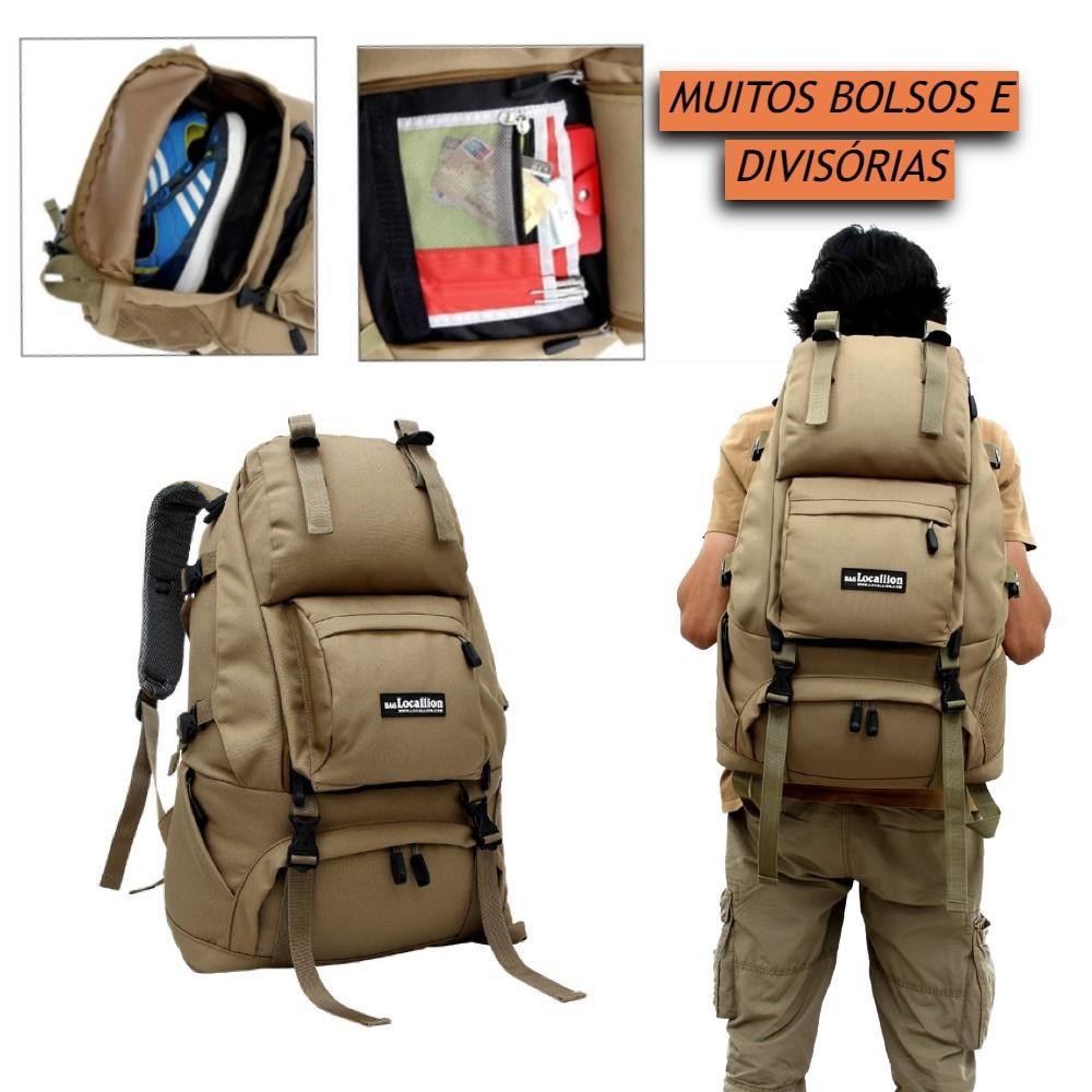 Mochila Militar Tatica Assault Esportiva Impermeável para Camping Trilha Acampamento ou Viagem em Poliéster Resistente de Alta Qualidade com Diversos Bolsos e Compartimentos Capacidade de 45 Litros