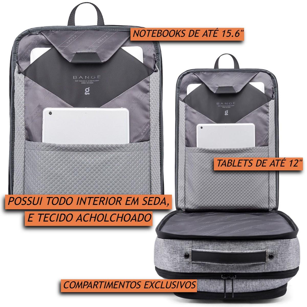Mochila Executiva Masculina para Notebooks 15.6 Polegadas Impermeável Antifurto Multifuncional 4 em 1 Tecido Interno Premium Vira Pasta ou Maleta com Alça de Costas Removível Bange Backpack Laptop K83