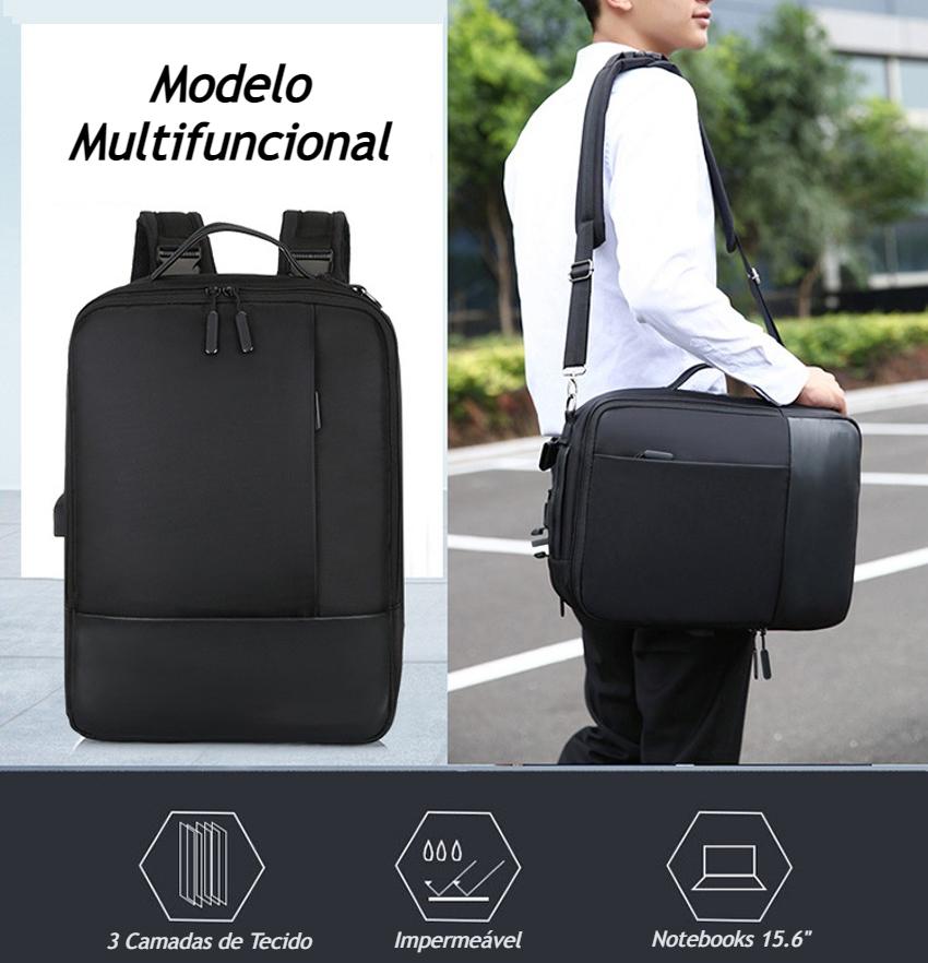 Mochila Executiva Multifuncional Slim Impermeável para Notebook 4 em 1 vira Maleta Executiva Bolsa Transversal ou Pasta de Mão com Detalhes em Couro PU de Alta Qualidade Resistente com Entrada USB