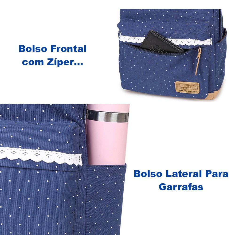 Mochila Feminina Para Notebook Kit 3 Peças Com Bolsinha + Estojo
