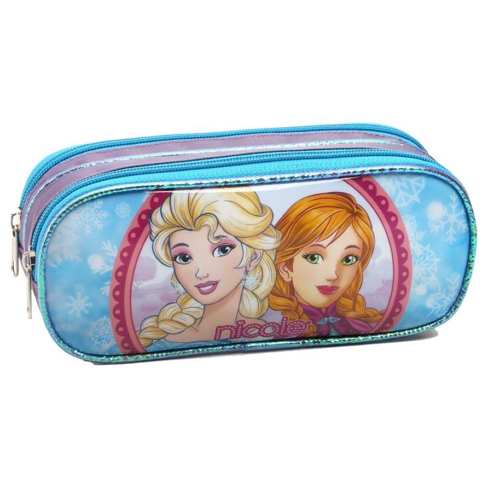 Mochila Frozen para menina com Estojo e Lancheira de brinde