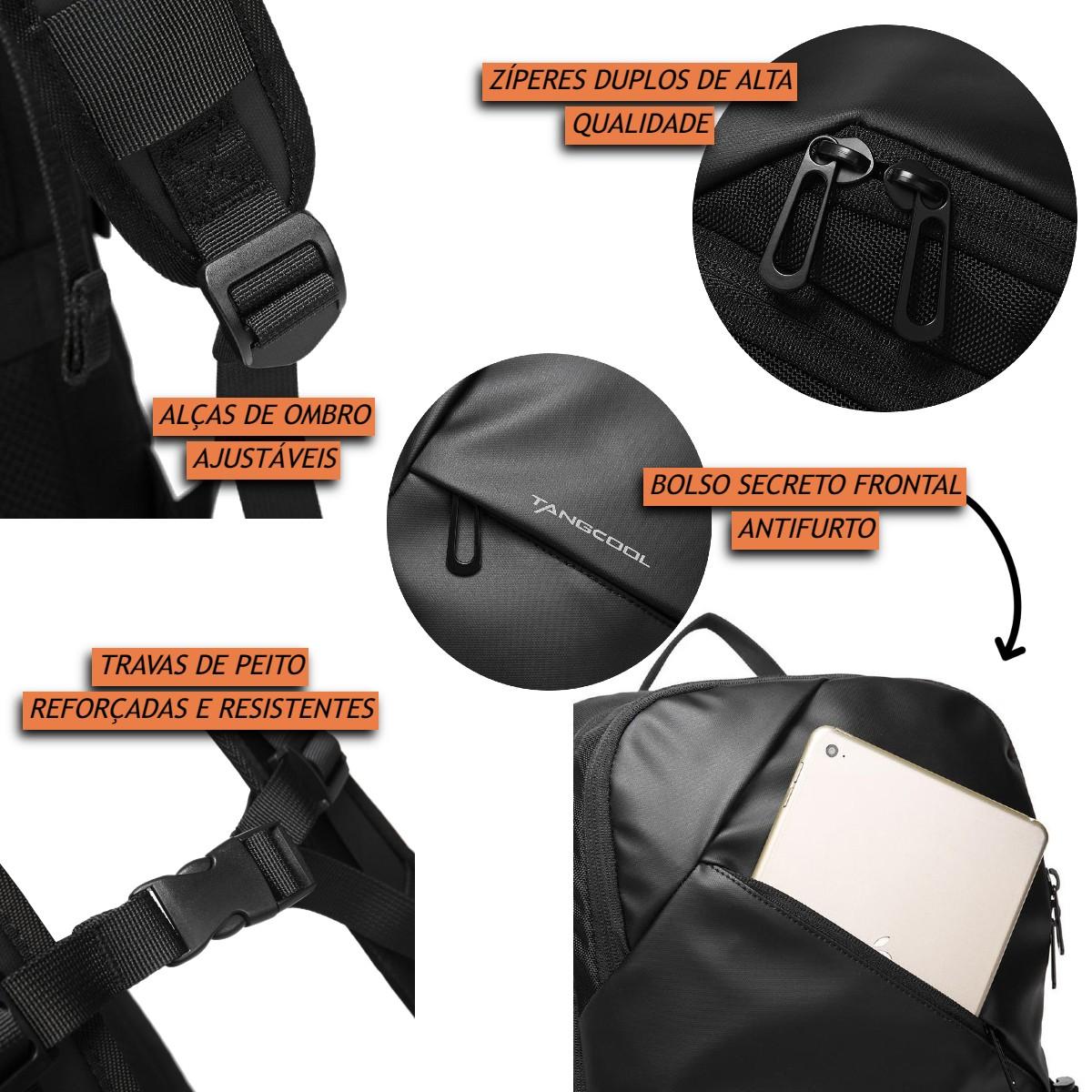 Mochila Impermeável Masculina Antifurto Premium em Tecido Balístico Anatômica Com Compartimento para Notebooks 15.6 Polegadas Esportiva Resistente de Alta Qualidade Capacidade de 30 Litros Tangcool