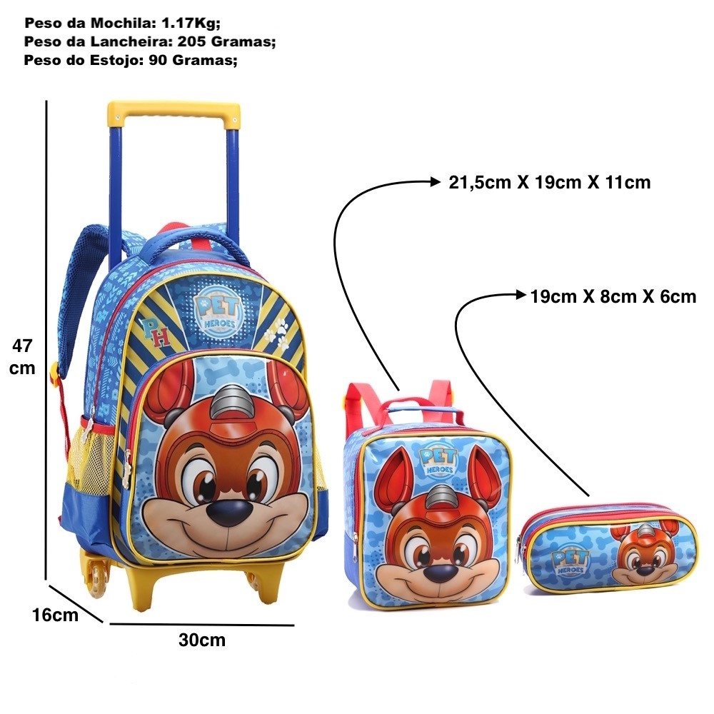 Mochila Infantil Com Rodinhas Kit Com Lancheira + Estojo Pet