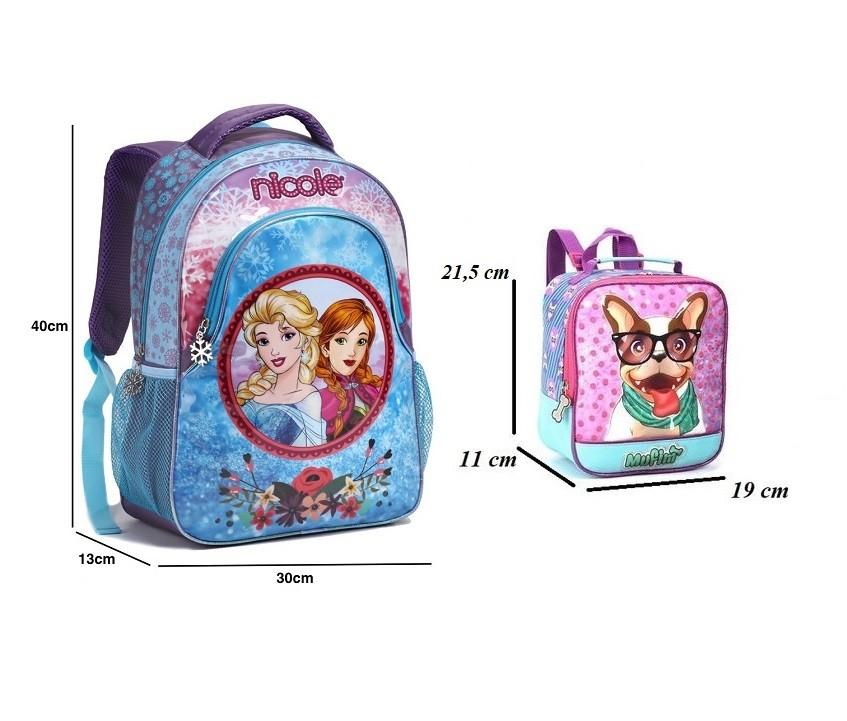 Mochila Infantil Escolar Meninas Frozen Lancheira Feminina