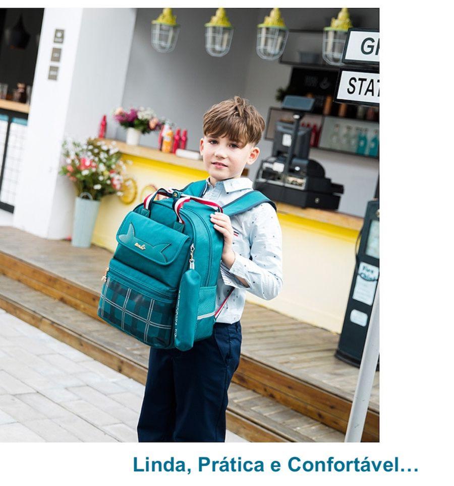 Mochila Escolar Infantil Com Estojo Para Meninos e Meninas