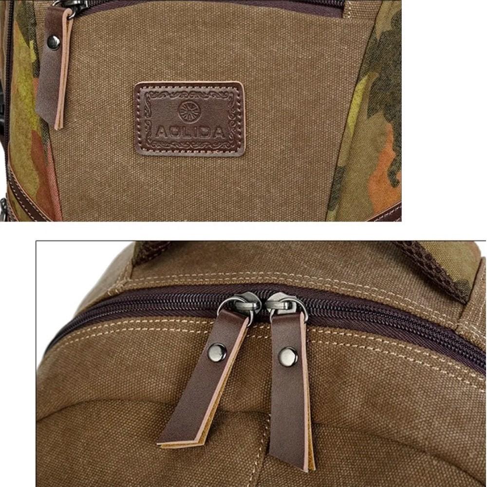Mochila Masculina de Lona Com Entrada USB Para Notebook