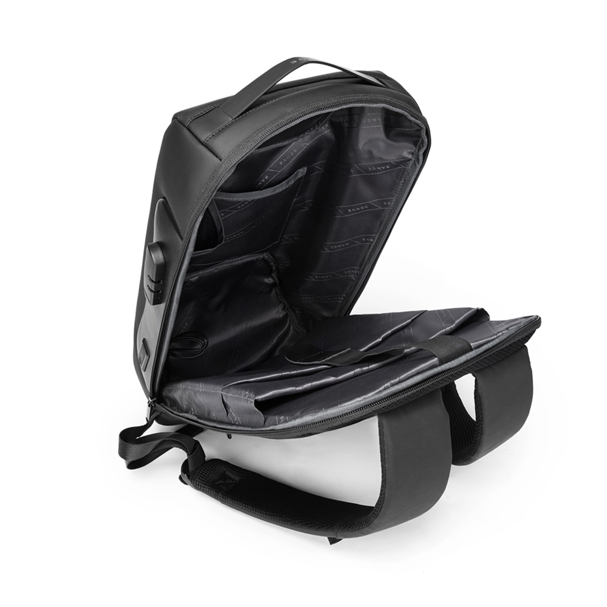 Mochila Masculina Executiva Impermeável Antifurto com Trava e Código para Notebooks de Até 15.6 Polegadas Premium Com Detalhes em Couro Legítimo com Capacidade de 30 Litros Bange Premium Backpack