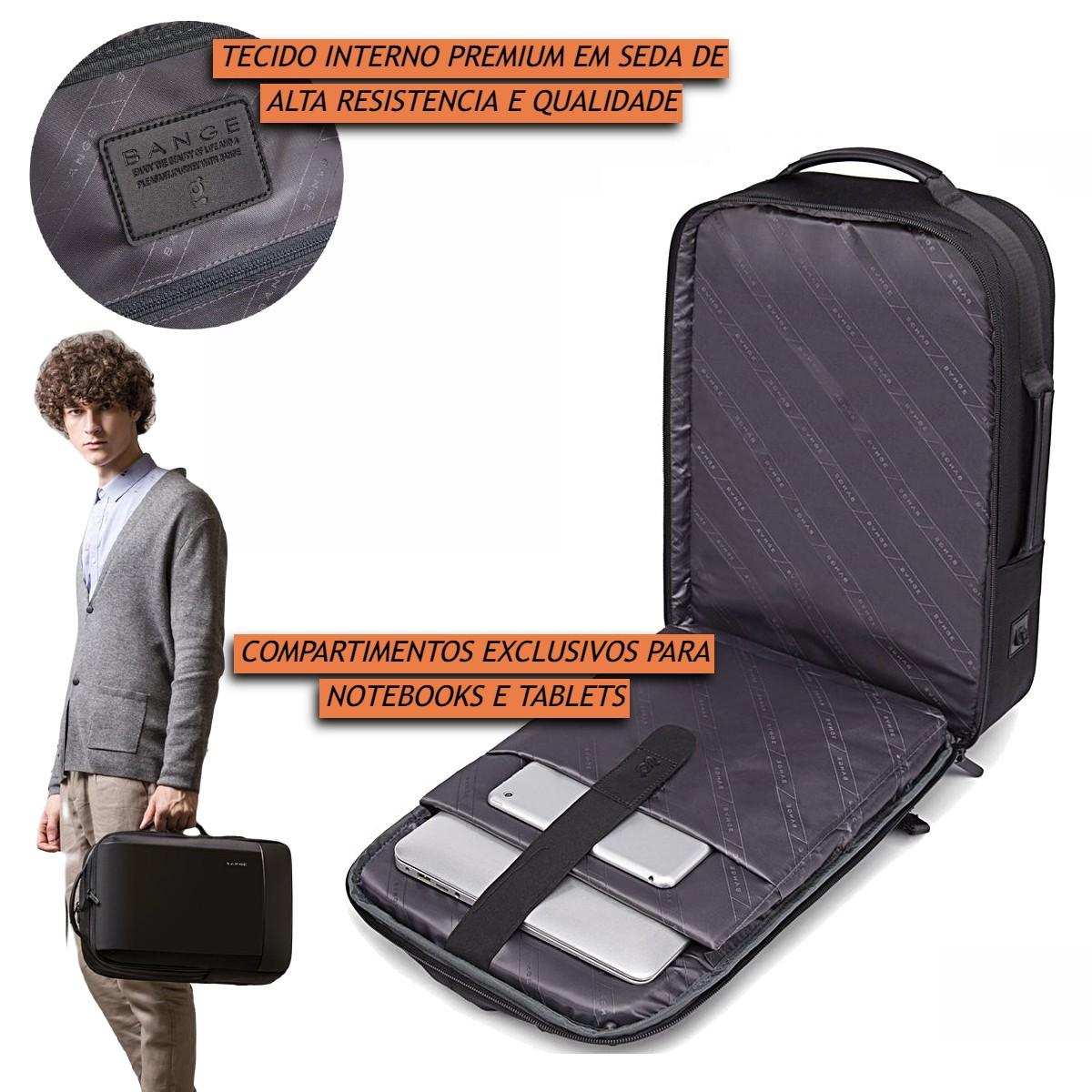 Mochila Masculina Executiva Antifurto Impermeável para Notebooks de Até 15.6 Polegadas de Alta Qualidade Premium Com Detalhes em Couro Legítimo com Capacidade de 28 Litros Bange Premium Backpack