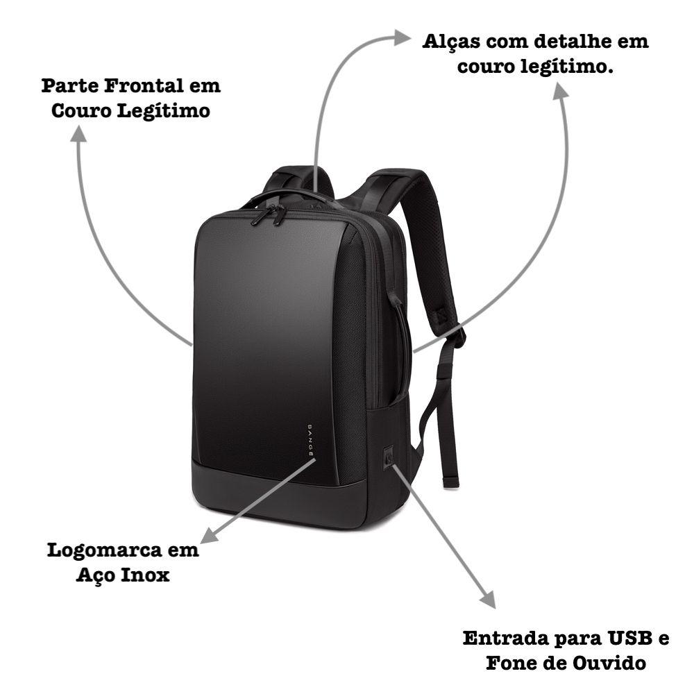 Mochila Masculina Executiva Premium Com Partes em Couro Legítimo 28L