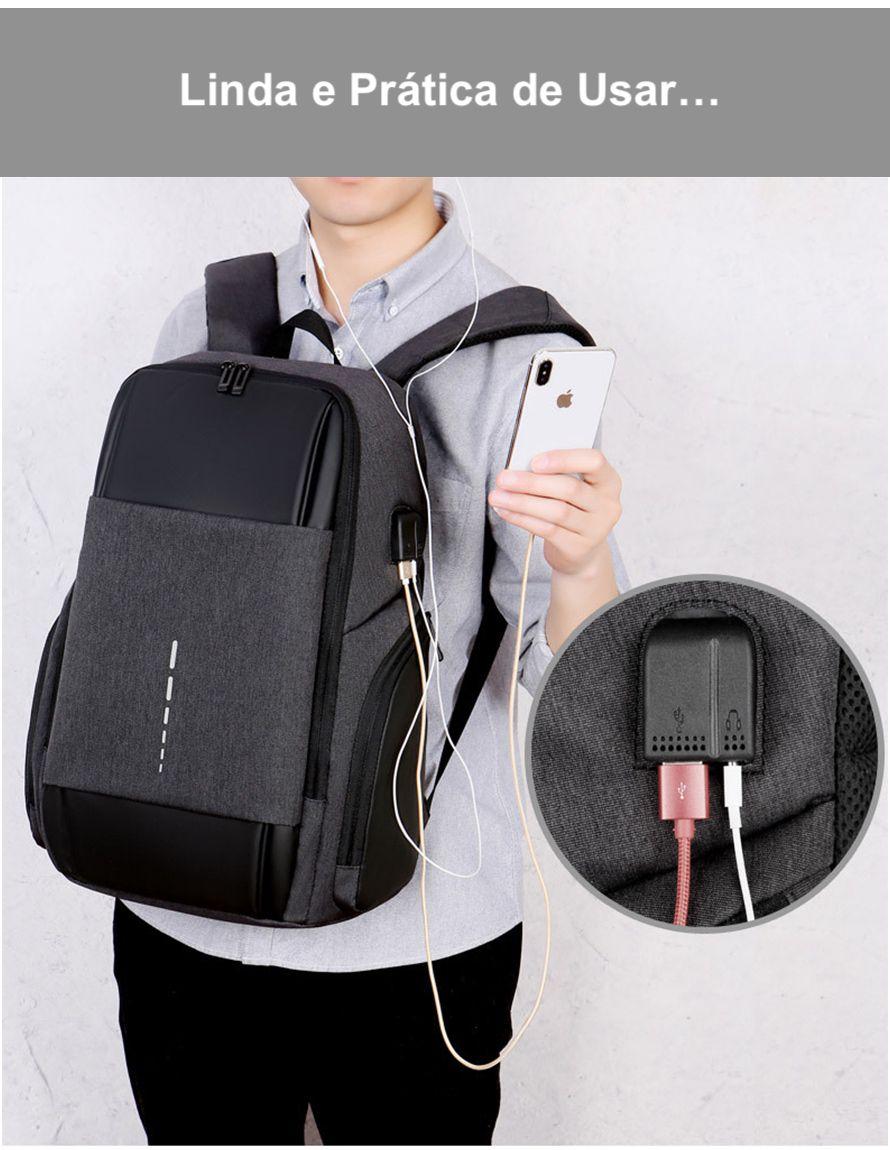 Mochila Notebook Masculina Com Entrada USB e Fone de Ouvido