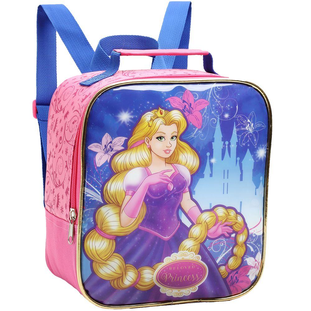 Mochila Princesas para Meninas com Estojo e Lancheira