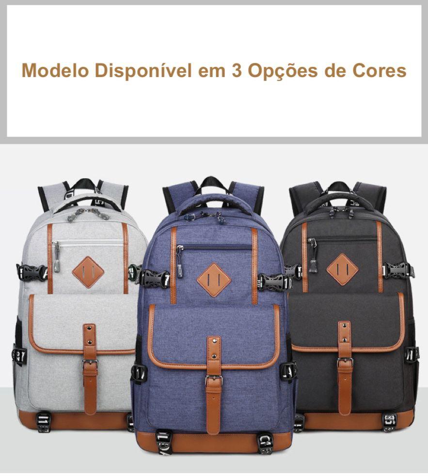Mochila Masculina Para Notebook Com Detalhes em Couro