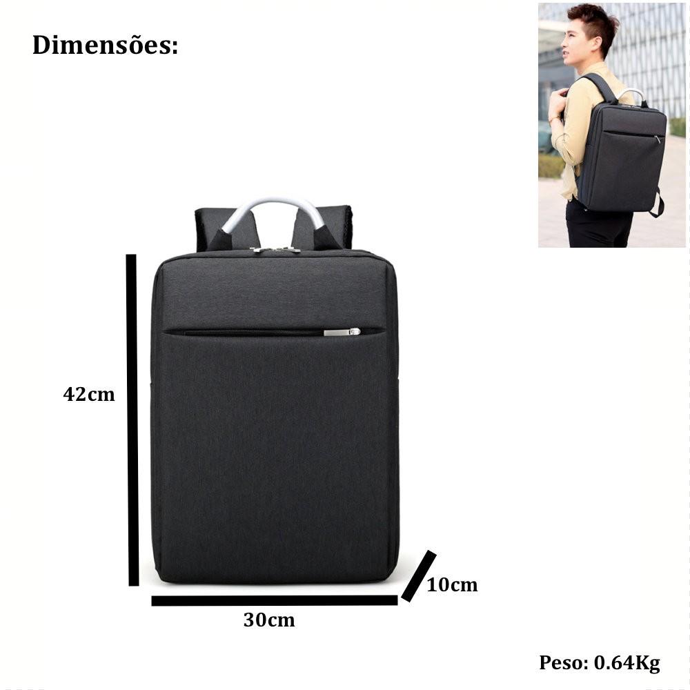 mochila retangular para notebook com alca de aluminio