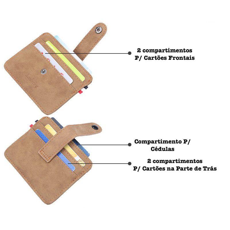 Carteira de Couro Puro Porta Cartões de Crédito + Fecho Slim