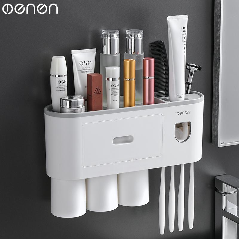 Porta Escovas de Dente com Tampa e Dispenser de Creme Dental