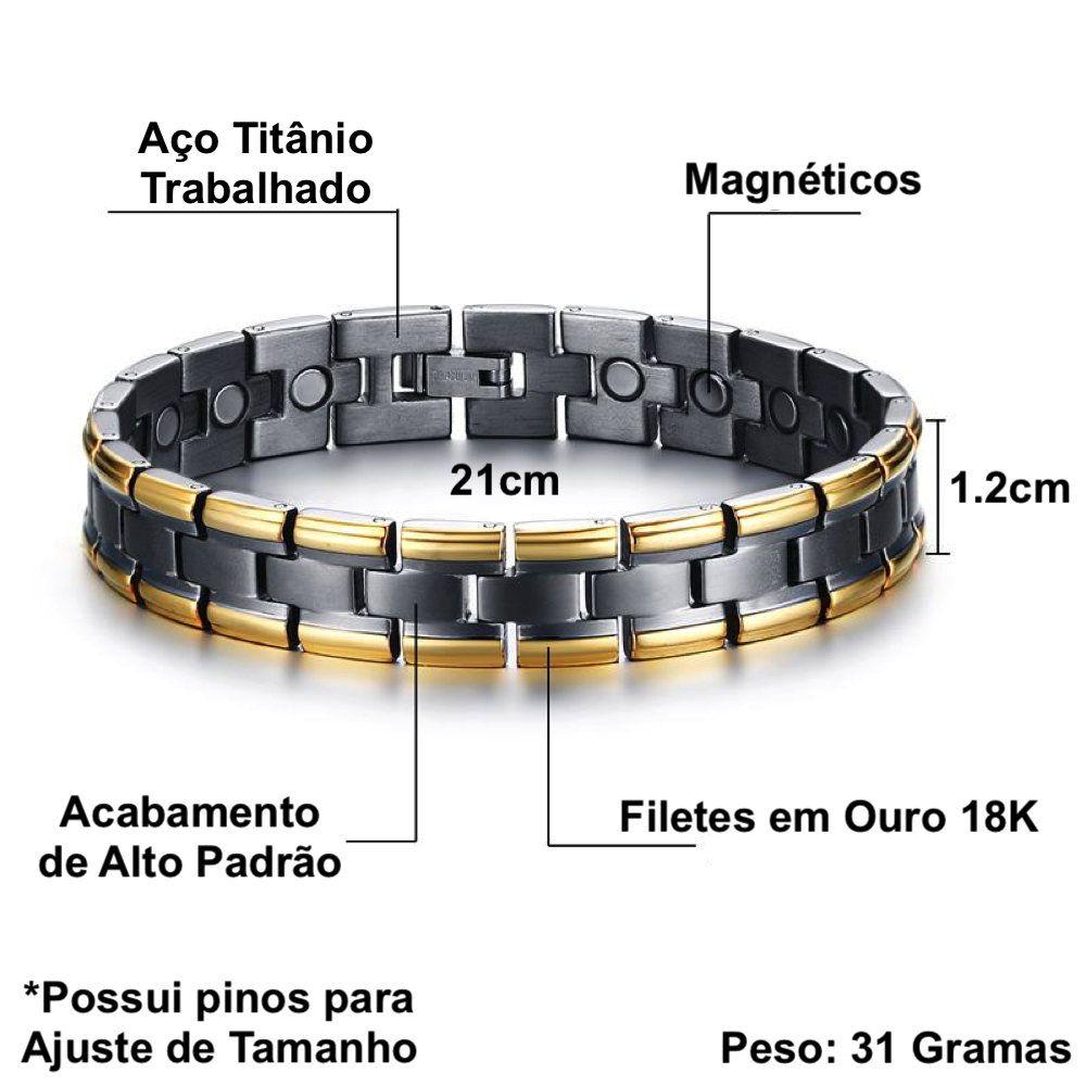 pulseira masculina titanio magnetica