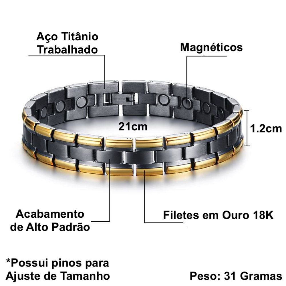 Pulseira Masculina Titânio Magnética