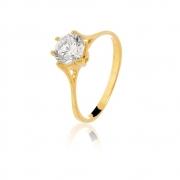 Anel de noivado solitário com zirconia Diva banhado em ouro 18k