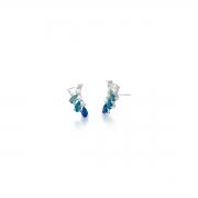 Brinco Ear Cuff com Cristais Gota Azul degradê Banhado a Ródio