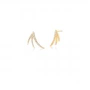Brinco Ear Cuff  comTrês Fileiras com Zircônias Banhado em Ouro 18k