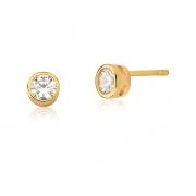 Brinco Ponto De Luz 7mm  cristal em cravação inglesa banhado em ouro 18k