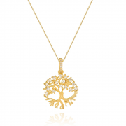 Colar com pingente Árvore da Vida com raízes em zircônias banhado em ouro 18k