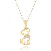 Colar Com Pingente De Cachorro com Zirconias banhado em ouro 18k