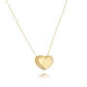 Colar de Coração Com Letra C e ponto de luz banhado em ouro 18k