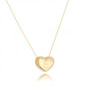 Colar de Coração Com Letra E e ponto de luz banhado em ouro 18k
