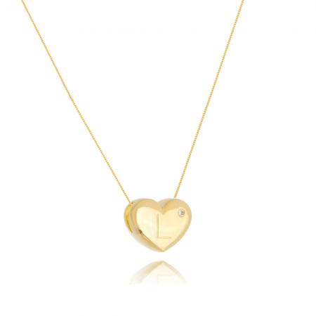 Colar de Coração Com Letra L e ponto de luz banhado em ouro 18k