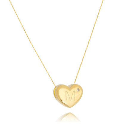 Colar de Coração Com Letra M e ponto de luz banhado em ouro 18k
