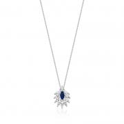 Colar Feminino Paola Com cristal Azul e Zirconias em ródio