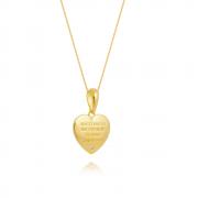 Colar hooponopono coração com ponto de luz banhado em ouro 18k