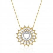 Colar Mandala Coração Com Zirconias banhado em ouro 18k