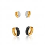 Conjunto Brinco de Argola Primeiro e Segundo Furo zirconias onix e brancas banhado em ouro 18k
