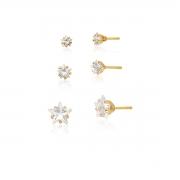 Kit Trio de Brincos Ponto de Luz Estrela em cristal 8mm, 5mm e 4mm banhado em ouro 18k