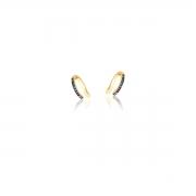 Piercing de Orelha com Zircônias Coloridas banhado em Ouro