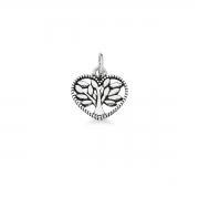 Pingente de Coração com Árvore da Vida Liso Prata 925 Envelhecida