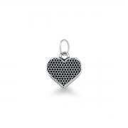Pingente de Coração liso em prata 925 envelhecida