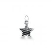 Pingente de Estrela liso em prata 925 envelhecida