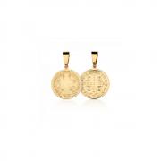 Pingente Medalha de São Bento banhado em ouro 18k - 1,5 cm - pequeno