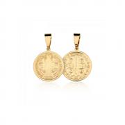 Pingente Medalha de São Bento banhado em ouro 18k - 2 cm - médio