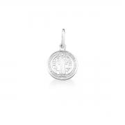Pingente Medalha de São Bento em 925 prata - pequeno