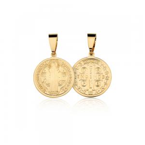 Pingente Medalha de São Bento banhado em ouro 18k - 2,5cm - grande